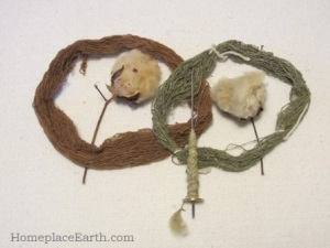 green and brown cotton bolls with spindle
