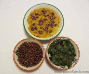 sweet potatoes with peanuts, cowpeas, and collards