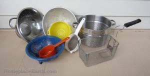 Collection of strainers and colanders to clean seeds. Find these in your kitchen or at yard sales-BLOG