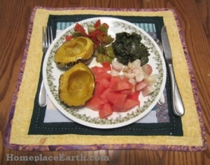Dinner for Day 1-acorn squash, sauteed peppers and green tomatoes, kale, roasted radishes, watermelon.